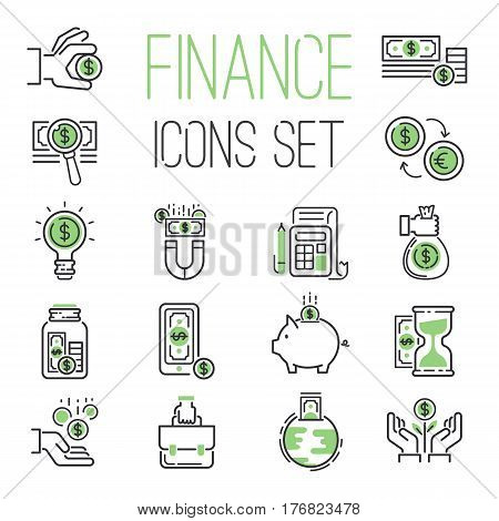 Finance money business outline black wealth accounting graph savings and cash investment banking financial green bank icons set vector illustration. Credit economic invest growth save.