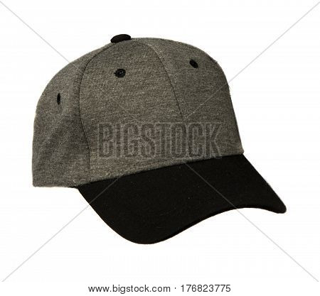 Sports Cap Isolated On A White Background . Gray Cap With Black Visor .