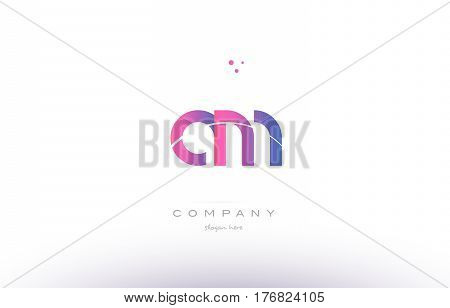 Am A M  Pink Modern Creative Alphabet Letter Logo Icon Template