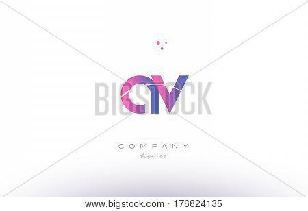 Av A V  Pink Modern Creative Alphabet Letter Logo Icon Template