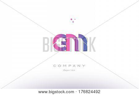 Em E M  Pink Modern Creative Alphabet Letter Logo Icon Template