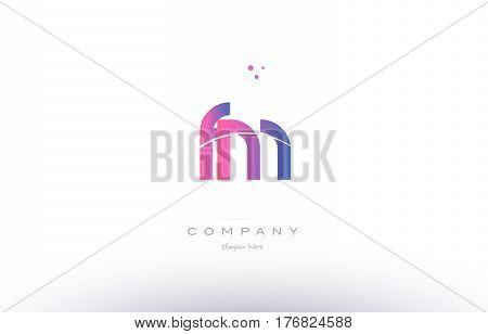 Fm F M  Pink Modern Creative Alphabet Letter Logo Icon Template