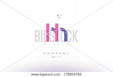 Hh H H  Pink Modern Creative Alphabet Letter Logo Icon Template