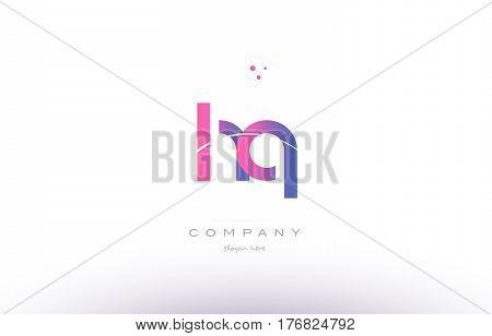 Hq H Q  Pink Modern Creative Alphabet Letter Logo Icon Template