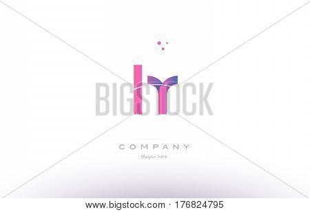 Hr H R  Pink Modern Creative Alphabet Letter Logo Icon Template