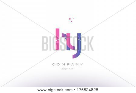 Hy H Y  Pink Modern Creative Alphabet Letter Logo Icon Template
