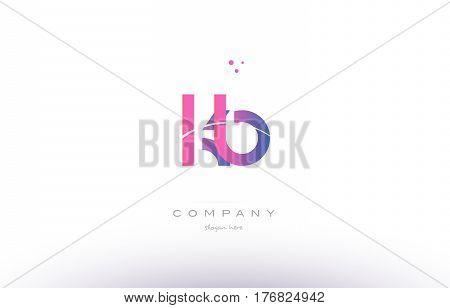 Kb K B  Pink Modern Creative Alphabet Letter Logo Icon Template