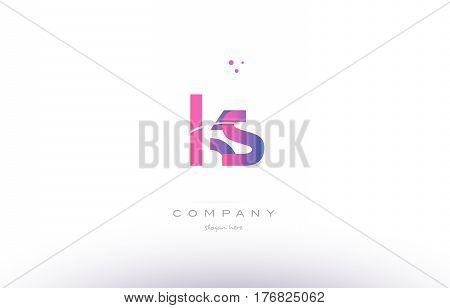 Ks K S  Pink Modern Creative Alphabet Letter Logo Icon Template