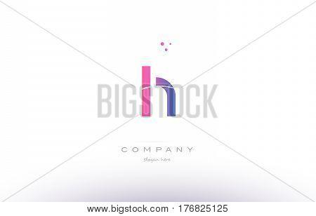 Lh L H  Pink Modern Creative Alphabet Letter Logo Icon Template
