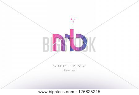 Mb M B  Pink Modern Creative Alphabet Letter Logo Icon Template