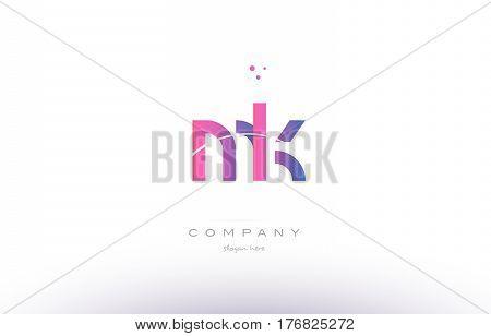 Mk M K  Pink Modern Creative Alphabet Letter Logo Icon Template