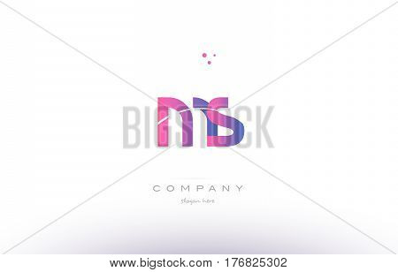 Ms M S  Pink Modern Creative Alphabet Letter Logo Icon Template