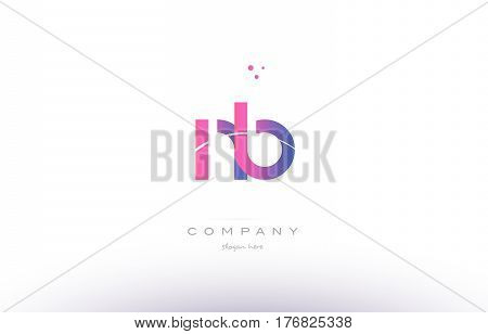 Nb N B  Pink Modern Creative Alphabet Letter Logo Icon Template