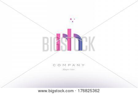 Nh N H  Pink Modern Creative Alphabet Letter Logo Icon Template