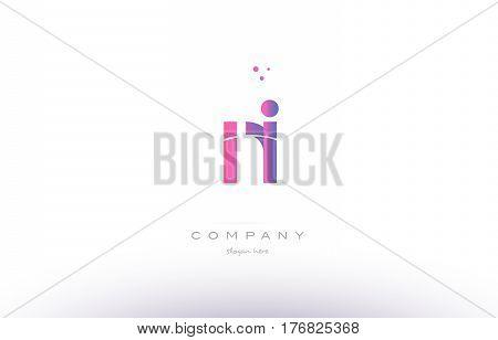 Ni N I  Pink Modern Creative Alphabet Letter Logo Icon Template