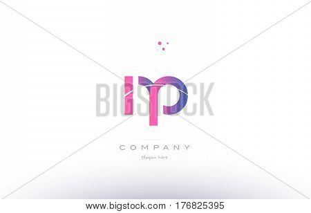 Np N P  Pink Modern Creative Alphabet Letter Logo Icon Template