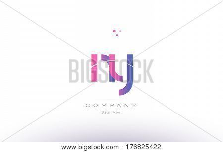Ny N Y  Pink Modern Creative Alphabet Letter Logo Icon Template