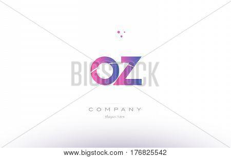 Oz O Z  Pink Modern Creative Alphabet Letter Logo Icon Template