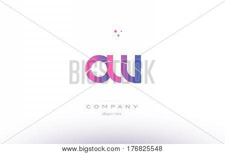 Ow O W  Pink Modern Creative Alphabet Letter Logo Icon Template
