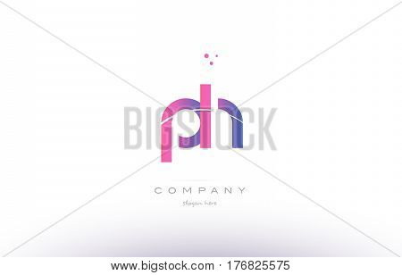 Ph P H  Pink Modern Creative Alphabet Letter Logo Icon Template