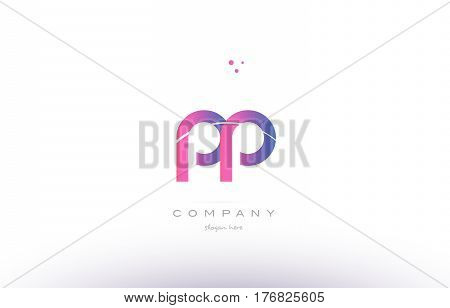 Pp P  Pink Modern Creative Alphabet Letter Logo Icon Template