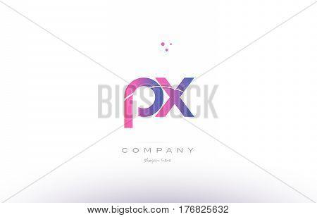 Px P X  Pink Modern Creative Alphabet Letter Logo Icon Template