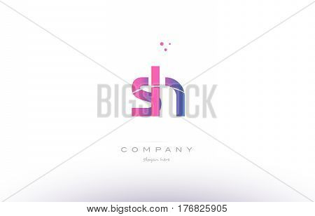 Sh S H  Pink Modern Creative Alphabet Letter Logo Icon Template