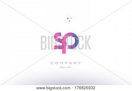 Sp S P  Pink Modern Creative Alphabet Letter Logo Icon Template