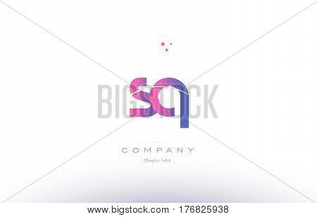 Sq S Q  Pink Modern Creative Alphabet Letter Logo Icon Template