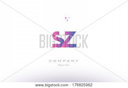 Sz S Z  Pink Modern Creative Alphabet Letter Logo Icon Template