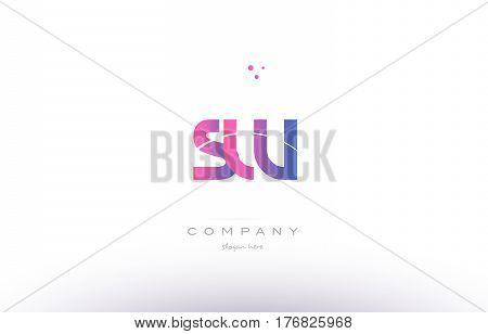 Sw S W  Pink Modern Creative Alphabet Letter Logo Icon Template