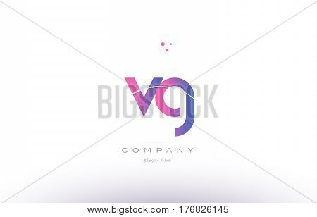Vg V G  Pink Modern Creative Alphabet Letter Logo Icon Template