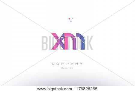 Xm X M  Pink Modern Creative Alphabet Letter Logo Icon Template