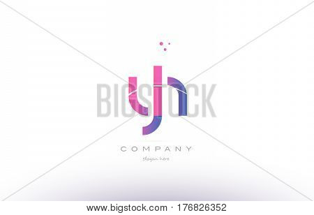 Yh Y H  Pink Modern Creative Alphabet Letter Logo Icon Template
