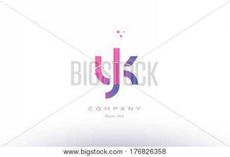 Yk Y K  Pink Modern Creative Alphabet Letter Logo Icon Template