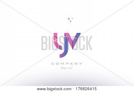Yv Y V  Pink Modern Creative Alphabet Letter Logo Icon Template