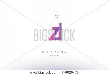 Zl Z L  Pink Modern Creative Alphabet Letter Logo Icon Template