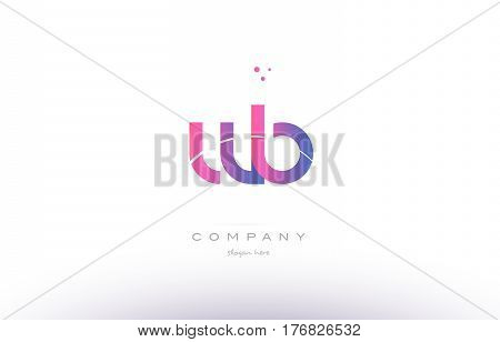 Wb W B  Pink Modern Creative Alphabet Letter Logo Icon Template