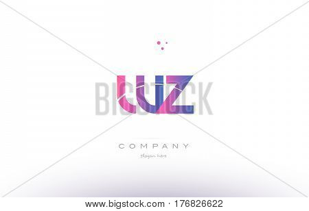 Wz W Z  Pink Modern Creative Alphabet Letter Logo Icon Template