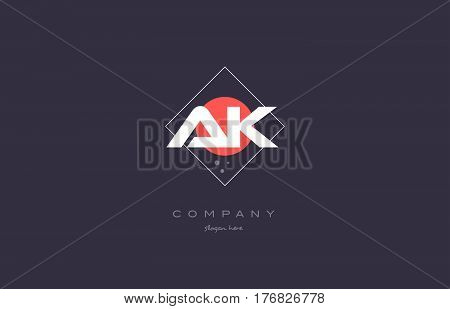 Ak A K  Vintage Retro Pink Purple Alphabet Letter Logo Icon Template
