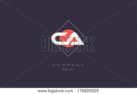 Ca C A  Vintage Retro Pink Purple Alphabet Letter Logo Icon Template