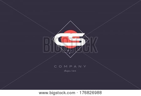 Cs C S  Vintage Retro Pink Purple Alphabet Letter Logo Icon Template