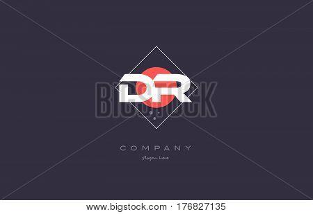 Dr D R  Vintage Retro Pink Purple Alphabet Letter Logo Icon Template