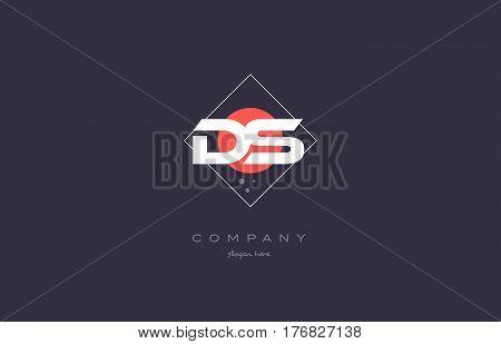 Ds D S  Vintage Retro Pink Purple Alphabet Letter Logo Icon Template