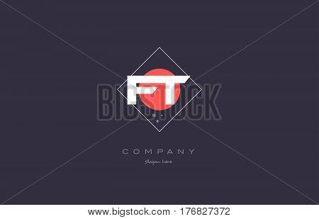 Ft F T  Vintage Retro Pink Purple Alphabet Letter Logo Icon Template