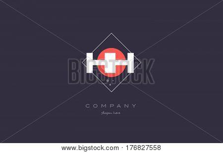 Hh H H  Vintage Retro Pink Purple Alphabet Letter Logo Icon Template
