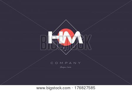 Hm H M  Vintage Retro Pink Purple Alphabet Letter Logo Icon Template