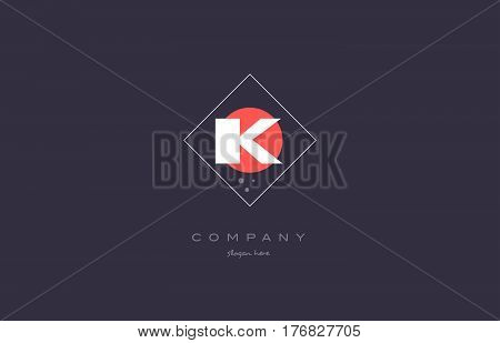 Ik I K  Vintage Retro Pink Purple Alphabet Letter Logo Icon Template