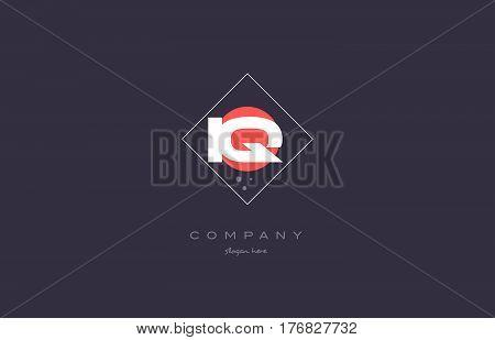 Iq I Q  Vintage Retro Pink Purple Alphabet Letter Logo Icon Template