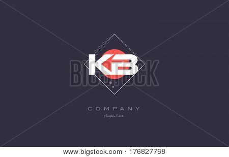 Kb K B  Vintage Retro Pink Purple Alphabet Letter Logo Icon Template